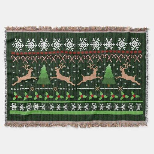 Cute Christmas Sweater Reindeer Throw