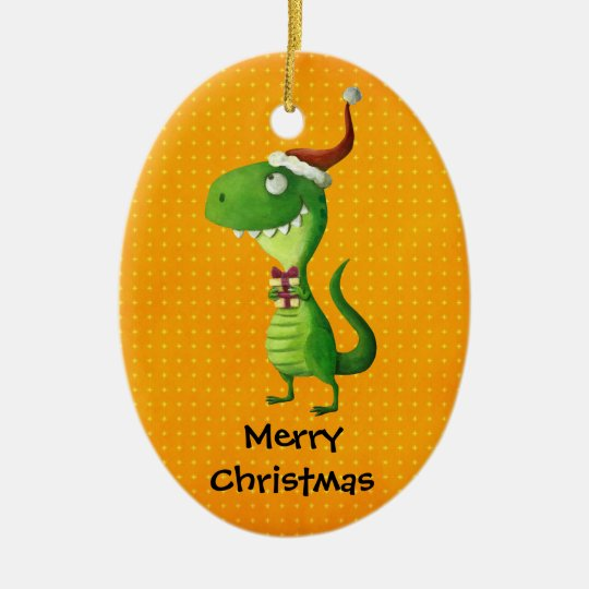 Cute Christmas T-rex Ceramic Ornament