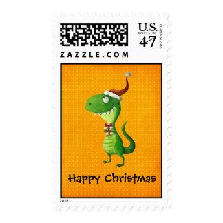Cute Christmas T-rex Postage
