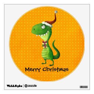 Cute Christmas T-rex Room Decal