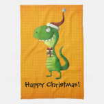 Cute Christmas T-rex Towel
