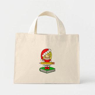 Cute Christmas teacher girl in her Santa suit. Mini Tote Bag