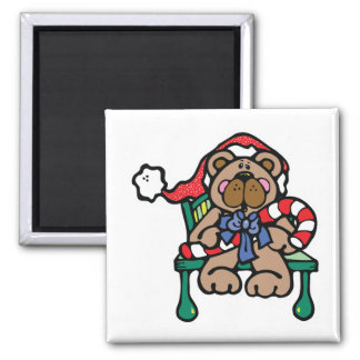 cute christmas teddy bear 2 inch square magnet