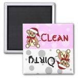Cute Christmas Teddy Bear Clean Dirty Dishwasher Magnets