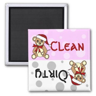 Cute Christmas Teddy Bear Clean Dirty Dishwasher 2 Inch Square Magnet