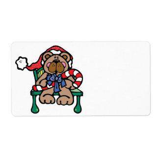 cute christmas teddy bear shipping label