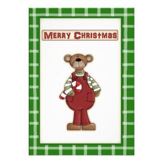 Cute Christmas Teddy Bear on Party Invitation