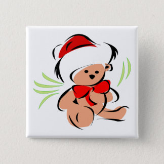 Cute Christmas teddy bear Pinback Button