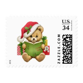 Cute Christmas Teddy Bear Postage Stamp
