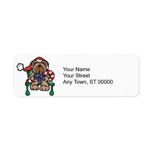 cute christmas teddy bear return address label