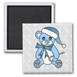 Cute Christmas Teddy Bear Santa Hat - Blue Magnet