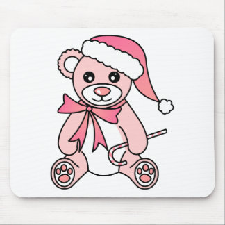 Cute Christmas Teddy Bear Santa Hat - Pink Mouse Pad
