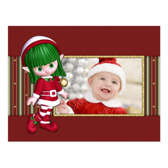Cute Christmas template with Elf Postcard