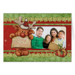 Cute Christmas template with funny reindeer Greeting Cards