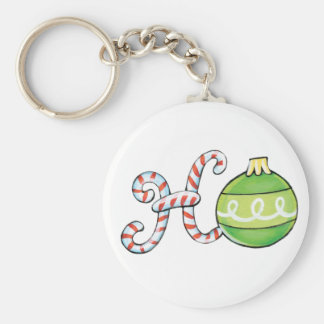 Cute Christmas Text, Ho in Candy Canes Ornaments Keychain