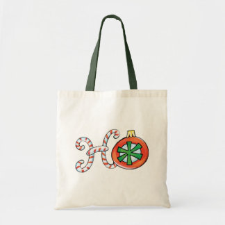 Cute Christmas Text, Ho in Candy Canes Ornaments Tote Bag