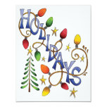 "Cute Christmas Text, Holidays in Lights Party 4.25"" X 5.5"" Invitation Card"