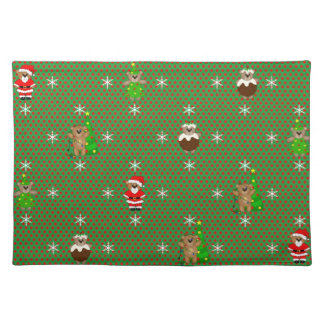 Cute Christmas Themed Cartoon Teddy Bears Pattern Placemat