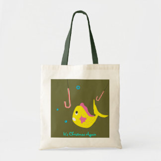Cute Christmas Tote Gift Bag - Fish Candy Cane
