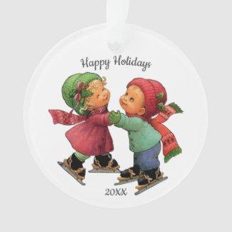 Cute Christmas Tots Ice Skating Acrylic Ornament