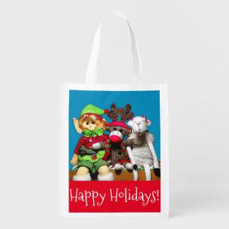 Cute Christmas toy siblings wishing happy holidays Reusable Grocery Bag