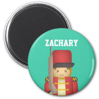 Cute Christmas Toy Soldier Boy in Red 2 Inch Round Magnet