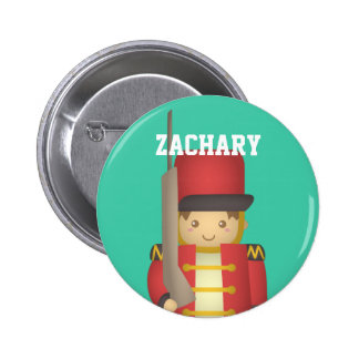 Cute Christmas Toy Soldier Boy in Red Pinback Button