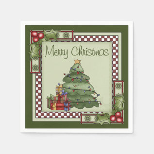 Cute Christmas Tree And Gifts Merry Christmas Napkin at Zazzle
