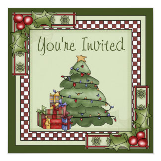 Cute Christmas Tree and Presents Holiday Party Invitation