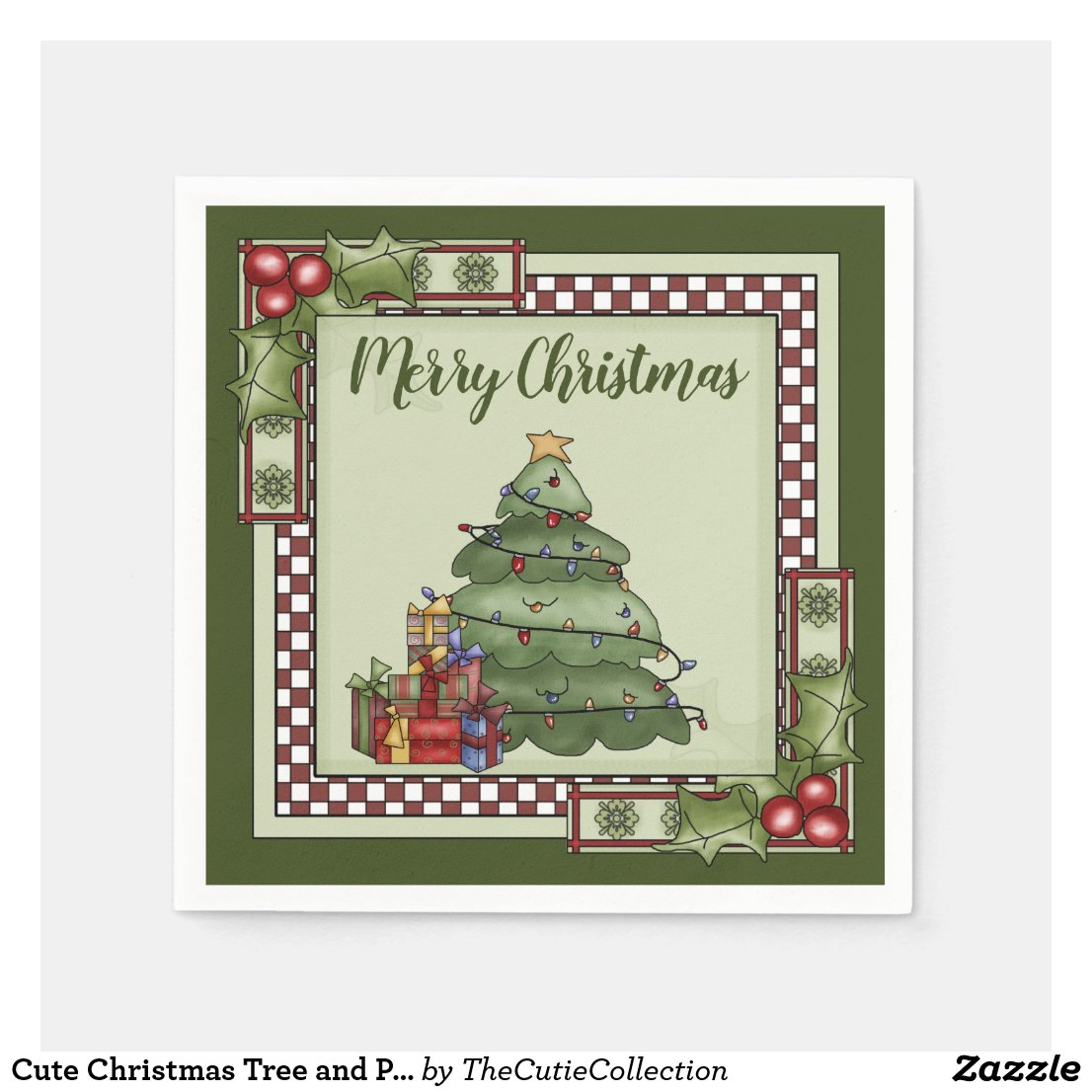 Cute Christmas Tree and Presents Merry Christmas Napkin