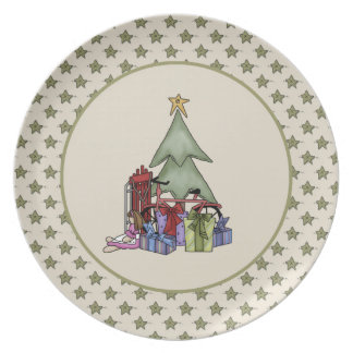 Cute Christmas Tree and Presents Plate