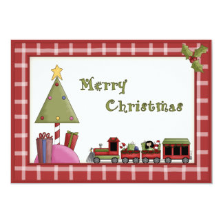 Cute Christmas Tree and Toy Train Party Invitation