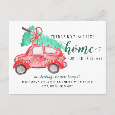 Cute Christmas Tree Car We've Moved Holiday Moving Announcement Postcard
