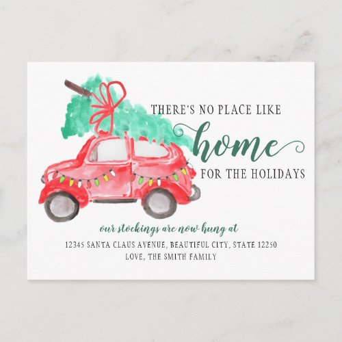 Cute Christmas Tree Car Weve Moved Holiday Moving Announcement Postcard