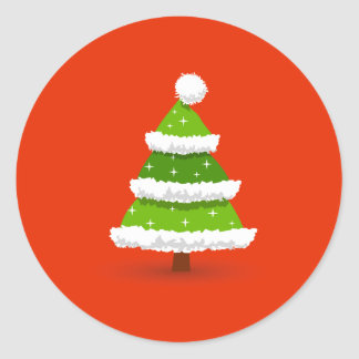 Cute Christmas Tree Classic Round Sticker