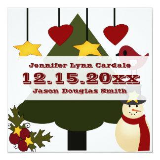 Cute Christmas Tree Decorating Snowman Bird Stars Announcement