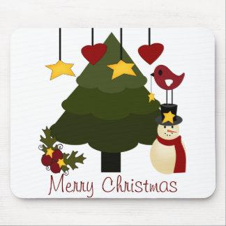 Cute Christmas Tree Decorating Snowman Bird Stars Mouse Pad