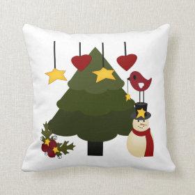 Cute Christmas Tree Decorating Snowman Bird Stars Pillows
