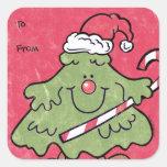 Cute Christmas Tree Gift Tag Sticker