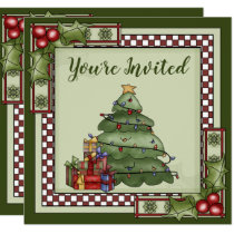 Cute Christmas Tree, Gifts and Holly Holiday Party Invitation