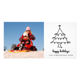 Cute Christmas Tree Happy Holidays Script Modern Card
