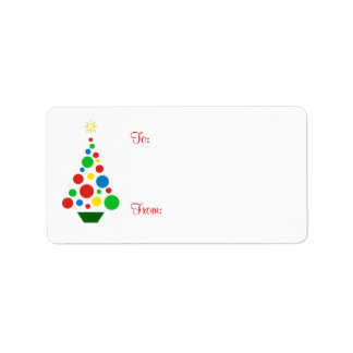 Cute Christmas Tree - Holiday Gift Tag Labels