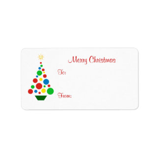 Cute Christmas Tree - Holiday Gift Tag Labels Personalized Address Labels