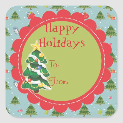 Cute Christmas Tree Holiday Gift Tag Sticker Zazzle