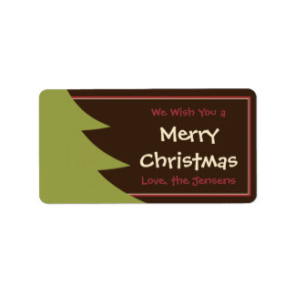 Cute Christmas Tree Holiday Gift Tags or Labels