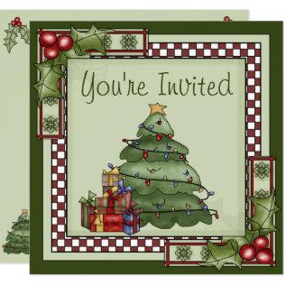 Cute Christmas Tree Holiday Party Invitation at Zazzle