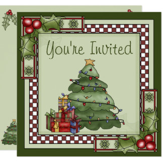Cute Christmas Tree Holiday Party Invitation