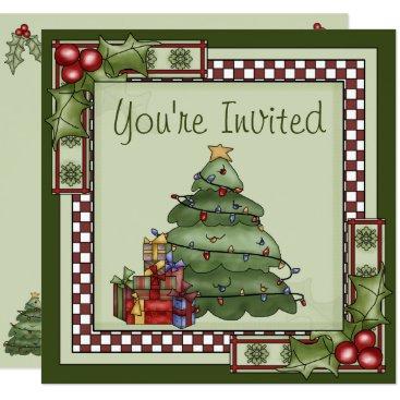 Christmas Themed Cute Christmas Tree Holiday Party Invitation