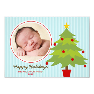 "Cute Christmas Tree Holiday Photo Card 5"" X 7"" Invitation Card"
