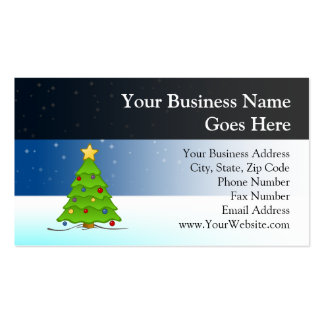 Cute Christmas Tree in Snow Business Cards